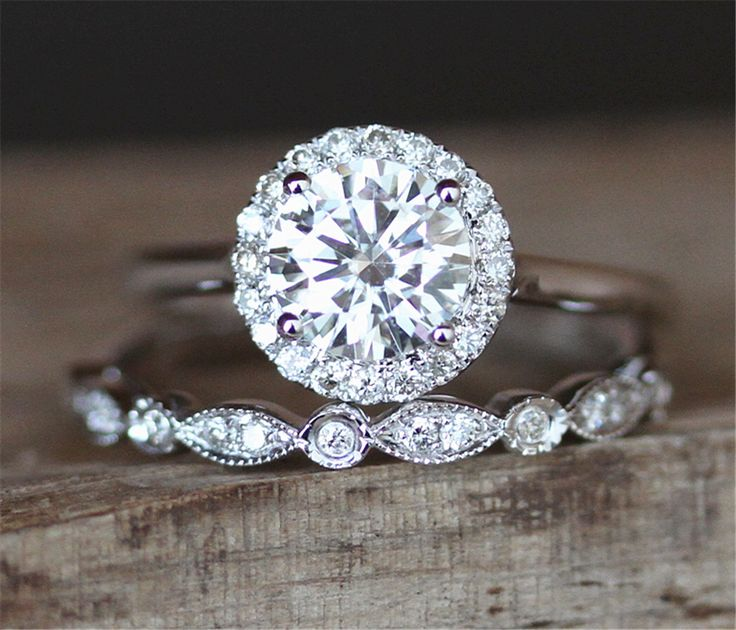 2pcs Moissanite Ring Set 6.5mm Round Cut Moissanite Engagement Ring Set&Art Deco Half Eternity Wedding Ring Set 14K White Gold Ring Set by DesignByAndre on Etsy https://www.etsy.com/listing/484940734/2pcs-moissanite-ring-set-65mm-round-cut