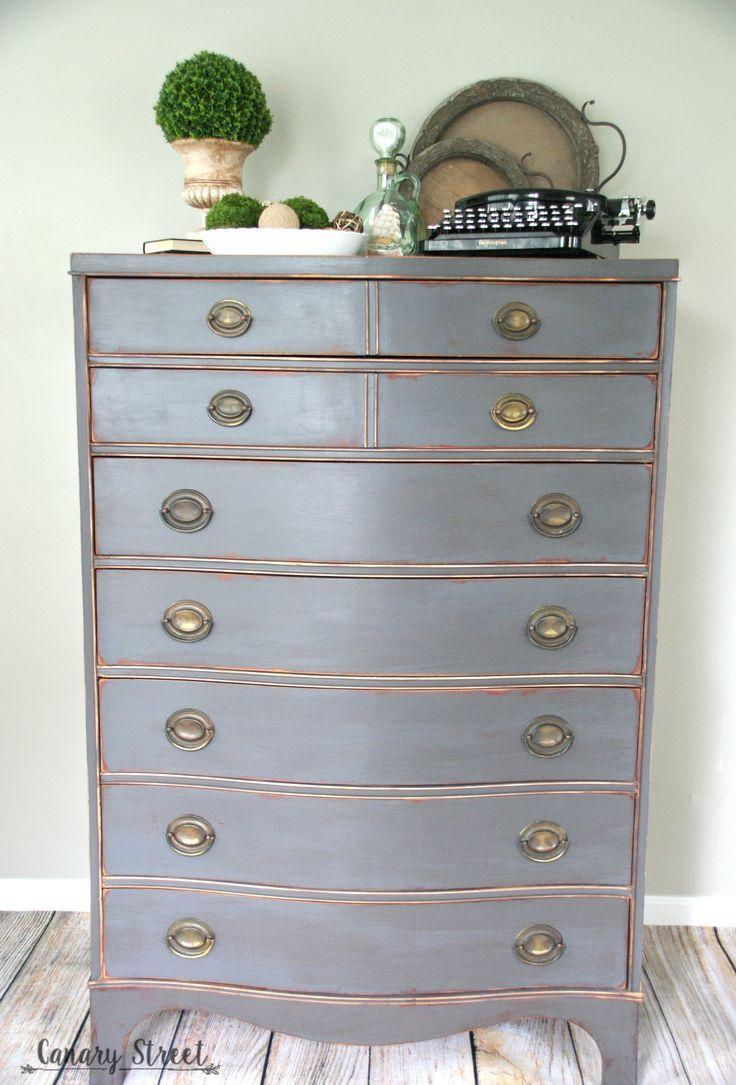 Weathered Gray Dresser Canary Street Crafts Grey Dresser Painting Furniture Diy Diy Furniture [ 1085 x 736 Pixel ]