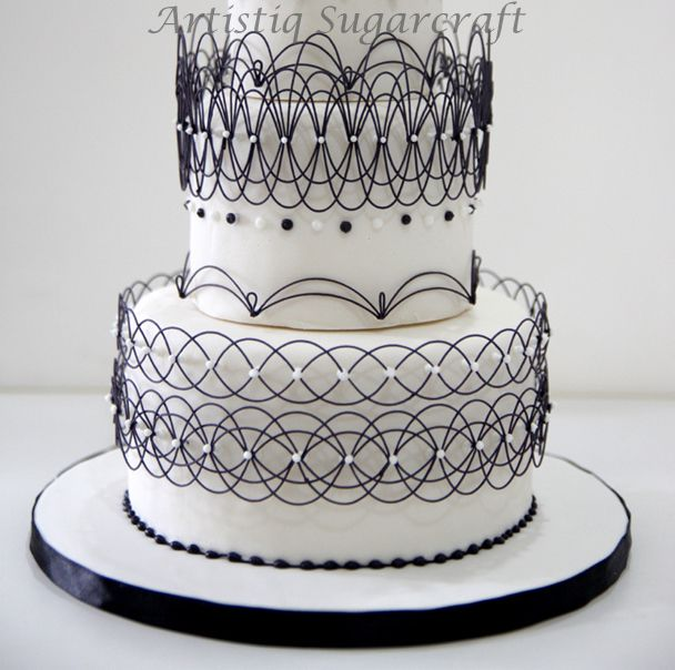 String Work Cake In Classic Black And White