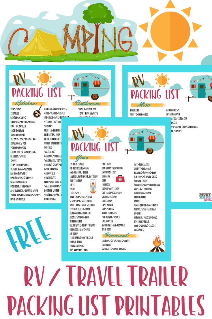 Free RV checklist printable packing list. Don't forget anything on your next camping trip in your travel trailer. This free printable camping list has everything covered! via @musthavemom