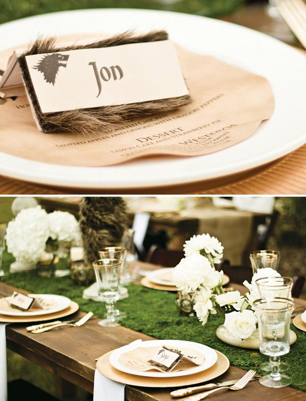 Game of Thrones Inspired Wedding {Rusic + Regal} - fir name cards, olden paper menus