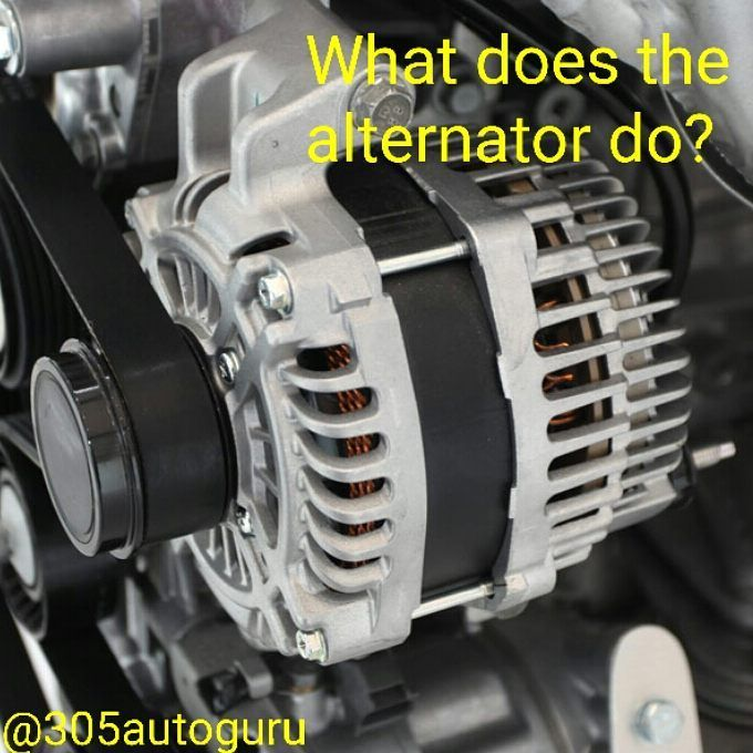 After the battery starts the vehicle  the alternator serves as the primary electrical supply.  Driven by the serpentine belt and a pulley as the alternator spins it producers electricity.  That electricity is then used to power your radio lights and other electrical components. - - #mechanics  #automotive  #alternator  #ase  #305autoguru  #cars  #speed  #turbo  #learn  #knowledge #cardealer  #sale  #305 #miami  #miamidealer  #miamicars  #honda  #acura  #ford  #mitsubushi  #mercedes  #bmw…