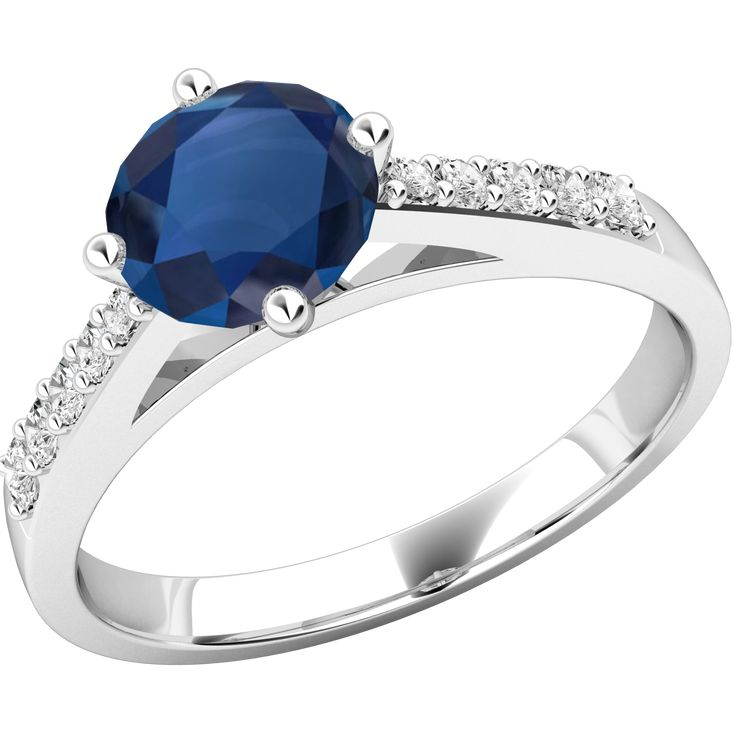 Inel cu Safir si Diamant Dama Aur Alb 18kt cu un Safir Rotund Central si Diamante Rotunde Briliant