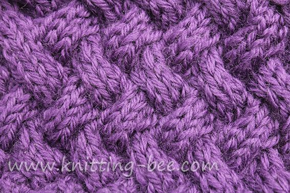 Knitting Stitches Weaving : Medium sized diagonal basketweave cable knitting stitch pattern. Knitting -...