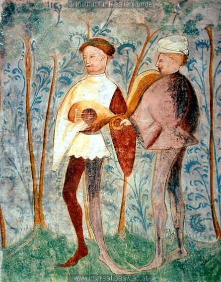 DANCERS  and MUSICIANS  in a fresco at Runkelstein Castle at Bolzano