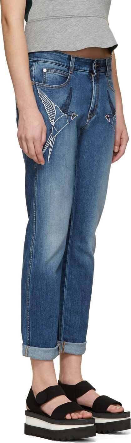 Stella Mccartney: Blue Faded Denim Hummingbird Embroidered Jeans