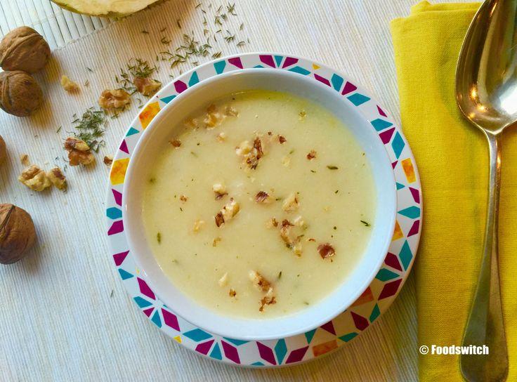 Knolselderij soep met walnoten & tijm. Eet meer groenten met foodswitch