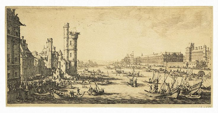 Jacques Callot, architecture & landscape art prints - View of the Louvre. First Sheet