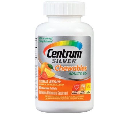 Centrum  Silver Multivitamin & Mineral Supplements - 60 Tablet.  Multivitamin/Multimineral Supplement, Specially formulated for adults 50+. Natural & artificial flavor. Just chew 1 tablet daily. How Centrum Silver has Been Specially Formulated: Beta-Carotene  An antioxidant form of vitamin A; Vitamin B6 A higher level (Compared to Centrum) to help your body convert food to energy; Vitamin B12  A higher level (Compared to Centrum) because dietary needs increase with age;  Calcium - A high…