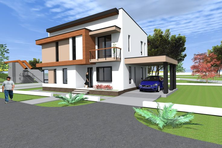 House design and 3D Elevation. two storey house plan NC22