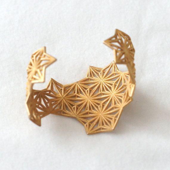 Geometria sacra 3d Bracciale polsino stampato  lucido oro