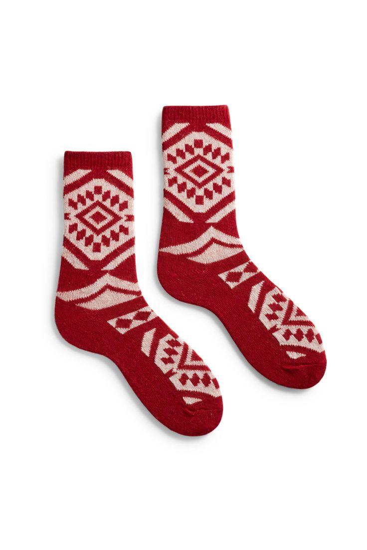 women's aztec wool + cashmere crew length socks