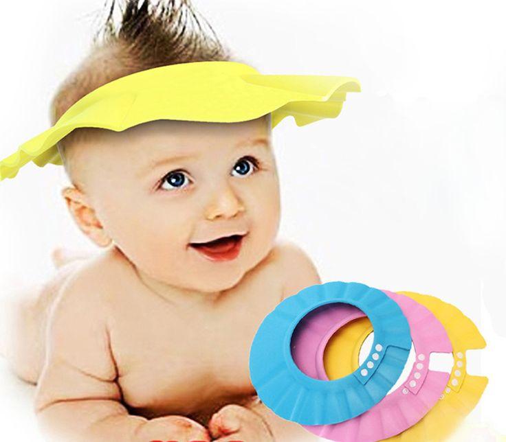 3 Colors 2015 Soft EVA Kids Baby Shower Cap for Babies Adjustable Children Boy Shower Hat Baby Shampoo Cap Protect Baby Care