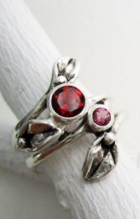 Кольцо Leaf,набор 2 кольца, серебряные кольца с гранат лист 5мм и 3 мм родолит гранат, обручальные кольца