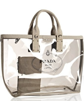 Prada Smoke Pvc And Linen Logo Large Tote Love This For A Beach Bag My Style In 2018 Bags Transpa