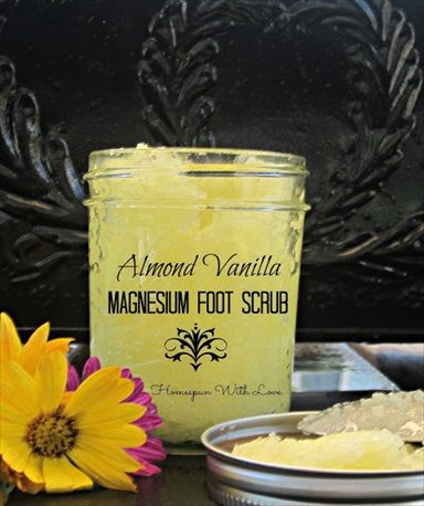 How to Make Almond Vanilla Magnesium Foot Scrub (Recipe) - however I would use pure magnesium salt instead of Epsom salt in this recipe.