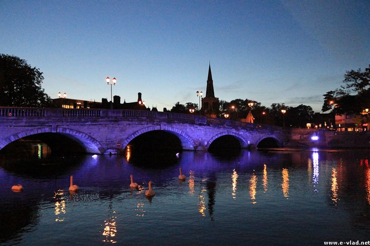 Where Rosie was born. Bedford England | Bedford, England - The Bedford Town Bridge is beautifully lit at dusk