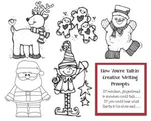 """December writing prompts: FREE printables.  """"Now You're Talkin'"""" includes 5 imaginative writing prompts. Students write down 10 things they think reindeer, snowmen and gingerbread might say if they could talk.  (There's a separate page for each one.) """"If you could hear Santa or his elves, what might they say?"""" are the other 2 prompts. Great way to practice the use of quotation marks too."""