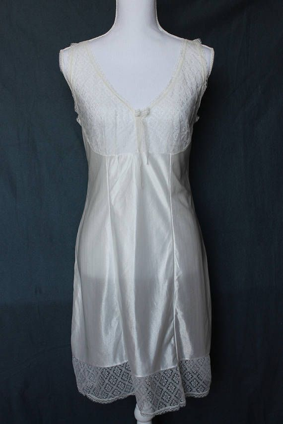 d27a5c278af Vintage satin nightgown   white lace chemise   sexy bridal slip dress    victorian nightgown