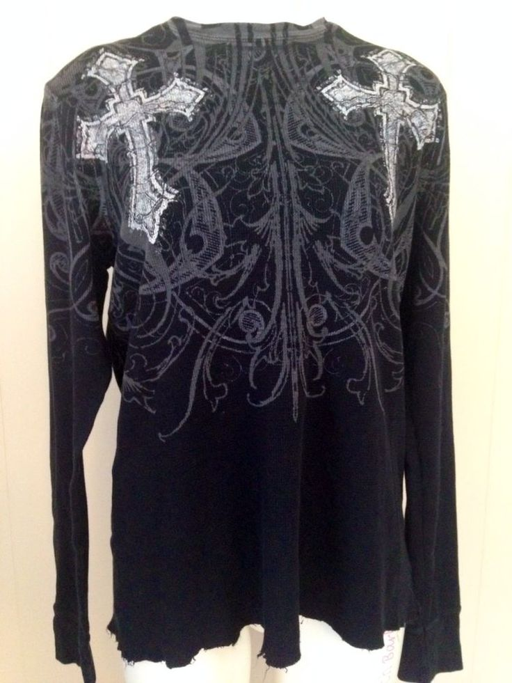 Men 39 s affliction black long sleeve thermal shirt crosses for Mens black thermal t shirts