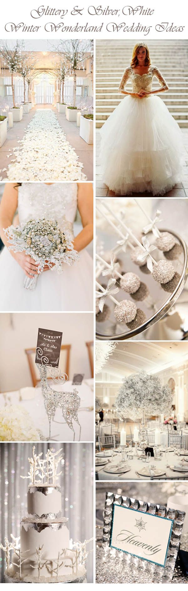 glittery and silver white winter wonderland wedding ideas