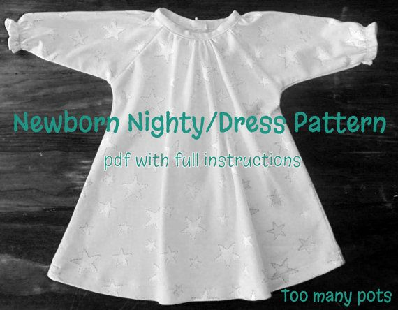 Newborn Baby Nighty, Nightie, Night gown, Dress Pattern, PDF Download with full sewing Instructions
