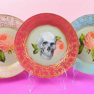 DIY Take 99c store glass plates and create these edgy, colorful boho