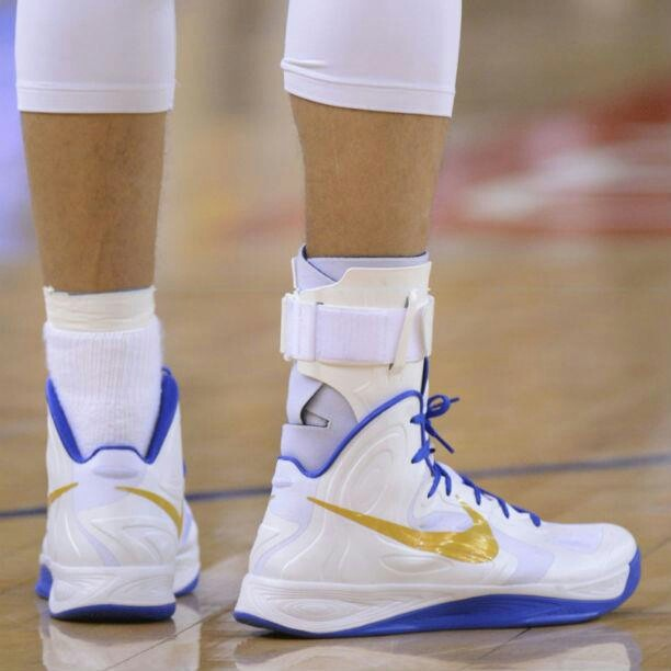 Stephen curry's ankle brace as he battles san antonio