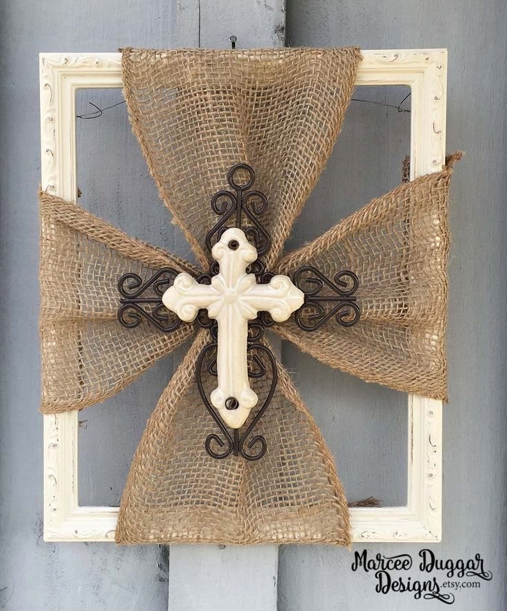 85 best burlap/fabric crosses on wood images on pinterest | burlap
