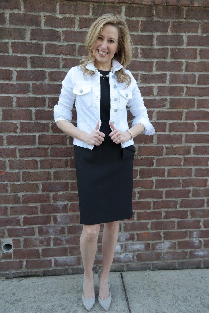 How To Refresh Your Spring Wardrobe: LBD w/ white denim jacket, heels and pearls. Because Southern girls wear pearls with everything.