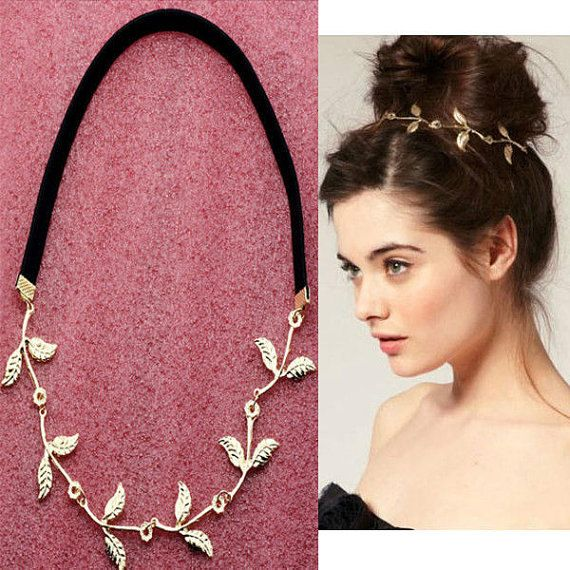 Fashion Gold Leaf Festival Garland Forehead Hair par Riverandbling, $7.50