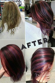 Pinwheel hair color technique - 3 colors