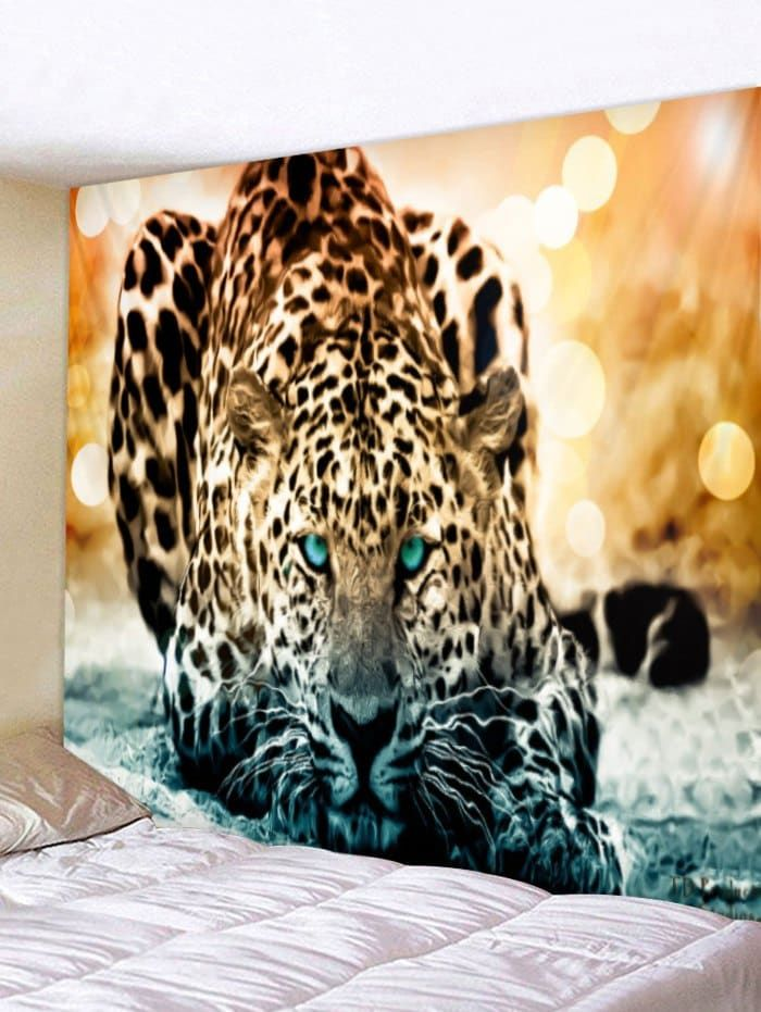 Animals Tiger Leopard Background Cloth Painting Wall Hanging Home Decor Tapestry