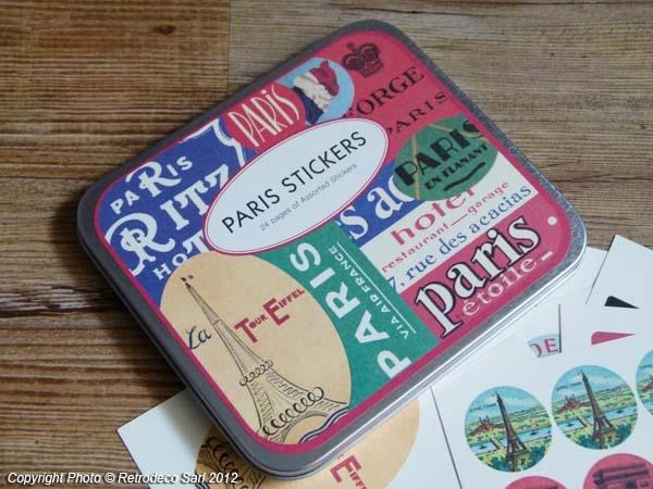 Boîte de stickers Paris, déco vintage, Cavallini & Co