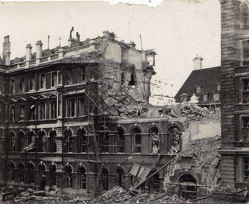 WW2 bomb damage. St Thomas's Hospital, London.    Photo found in a flea market in Brighton, UK. The hospital was hit on 9th September 1940. This wing was demolished and replaced with a modern high rise building after the war. The corner of County Hall can be seen behind and enabled me to identify the location of this photo.
