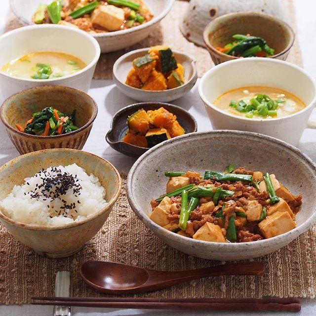 2016/3/30 水 #晩ごはん ・ ✳︎麻婆豆腐 ✳︎かぼちゃの胡麻和え ✳︎ほうれん草と人参のナムル ✳︎中華スープ ・ でした ・ コメントお返しお休みします いつもありがとうございます☘ ・