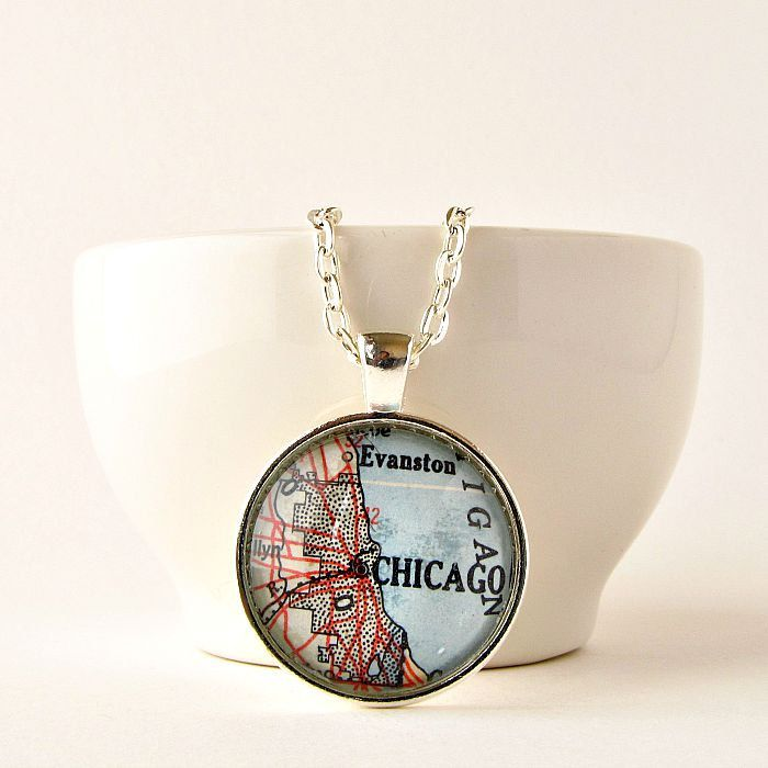 Chicago Map Necklace created from vintage 1950 map by salvagedstudiomke on Etsy / $24 / Chicago map / Chicago gifts / Chicago gift ideas / Chicago necklace / map jewelry