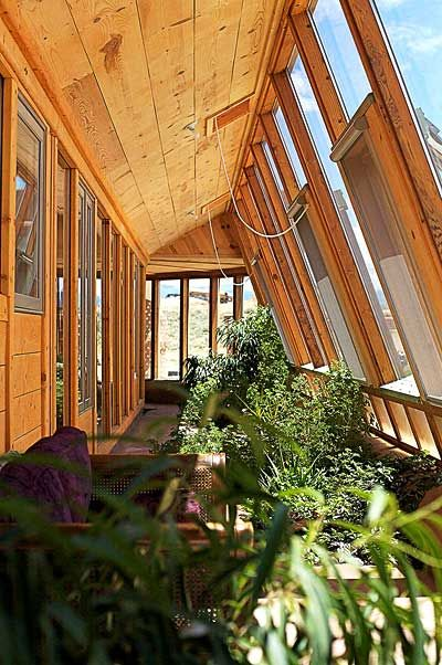 View from inside an earthship home.