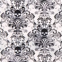 white skull ornament fabric 'Wicked' Timeless Treasures USA