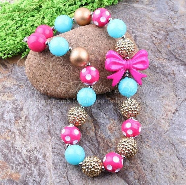 Pink Turquoise and Gold Polka Dot Bubblegum Necklace