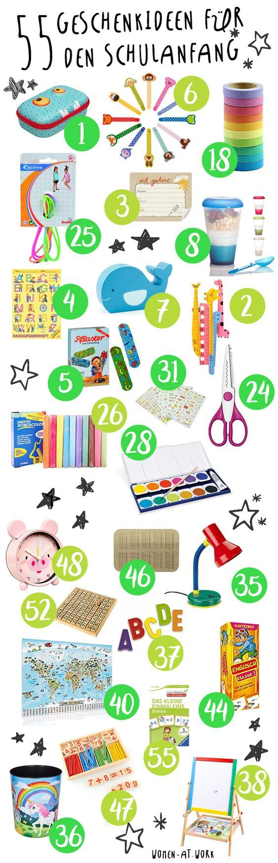 55 gift ideas for the beginning of school and the school bag