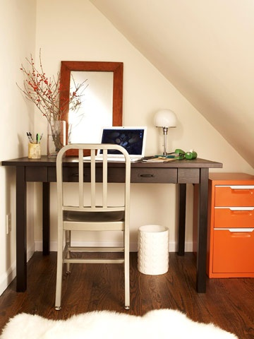 Good use of a nook, and sweet and simple. (Love the orange filing cabinet.): Modern Bungalow, Desks Chairs, File Cabinets, Work Spaces, Corner Offices, Small Spaces, Bungalows Home, Offices Nooks, Home Offices