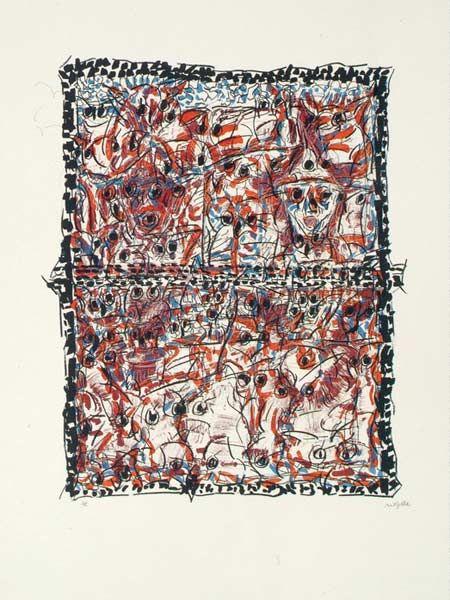 """Jean Paul Riopelle, Oiseaux à la fenêtre, 1980, Lithographie, 28"""" x 21"""""""