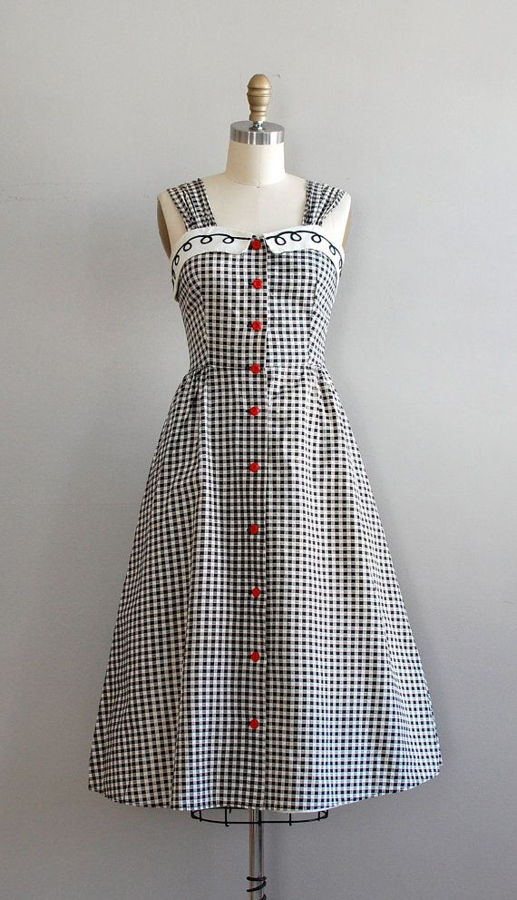 1950s dress / gingham 50s dress / Picnic Gingham dress. Hmm... maybe something like this for a music festival, with matching bolero?