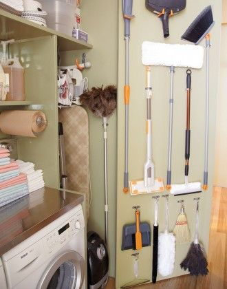 Attach your cleaning tools (brooms, mop, etc.) to the back of your laundry room door for easy access