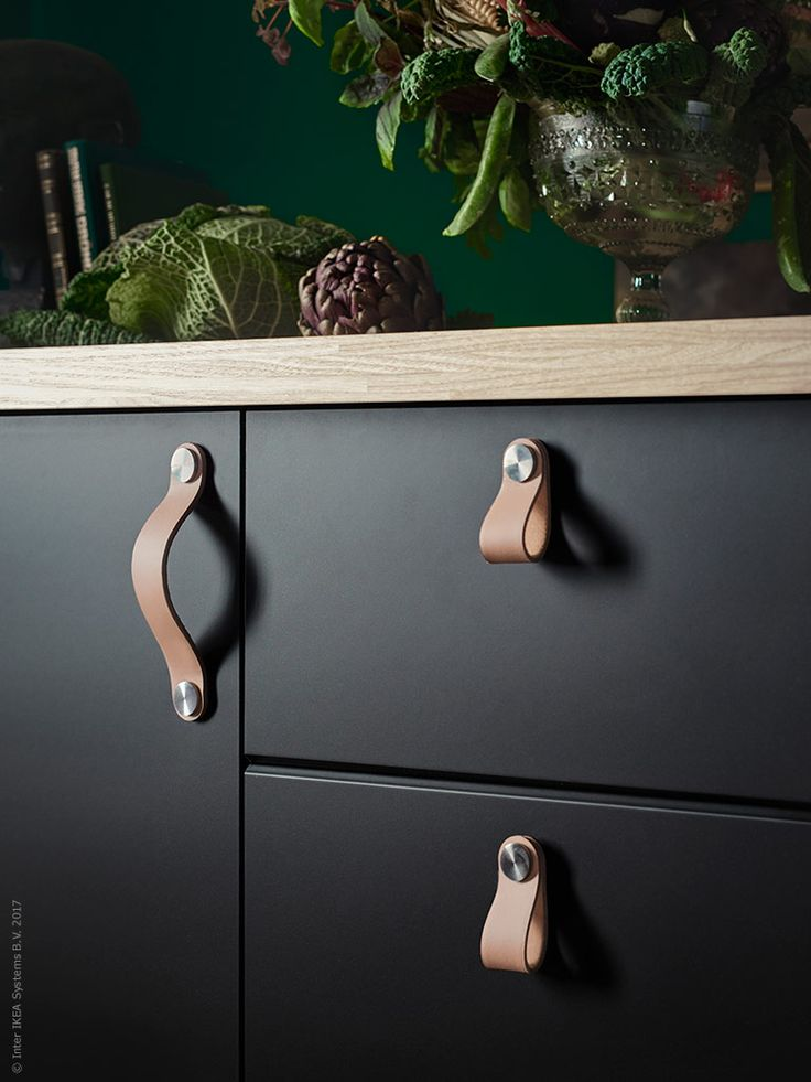 Refresh Kitchen Cabinets with Leather Pulls