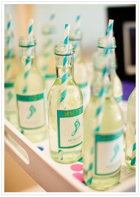 Wedding: Bridesmaids get mini wine bottles before the wedding - Adorable! Obviously white wine so it doesn't stain and straws so you don't spill!