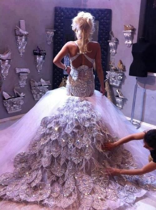Peacock wedding dress. Stunning!!!! SO MY DRESS