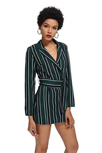 a65718e1b2b ROMWE Women s Striped Print Colorblock Blazer Short Romper With Belt Formal  Jumpsuit Green S