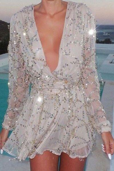 Sequins Plunging Neck Long Sleeve Mini Dress: Mini Dresses | ZAFUL